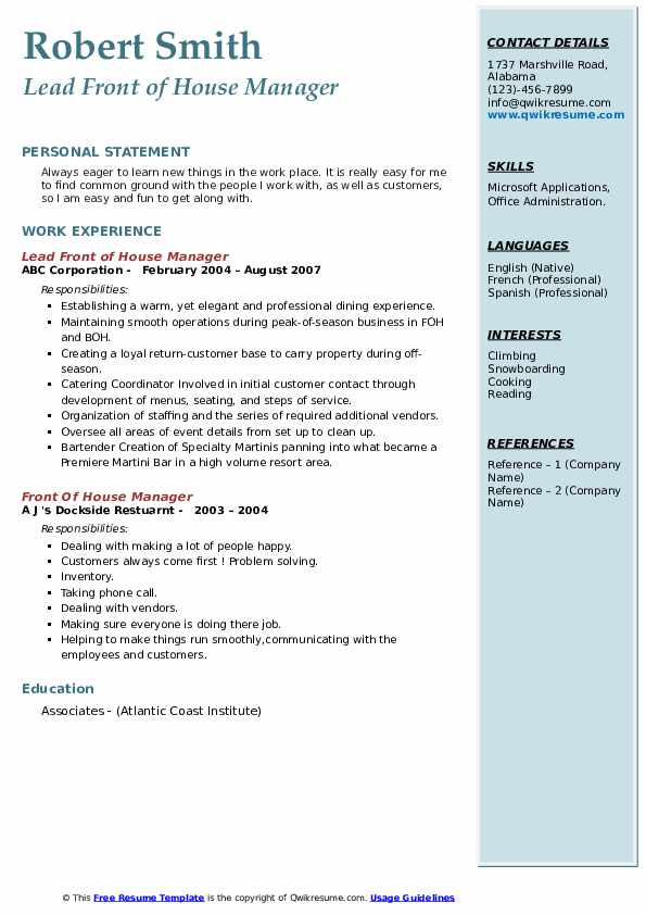 Lead Front of House Manager Resume Example