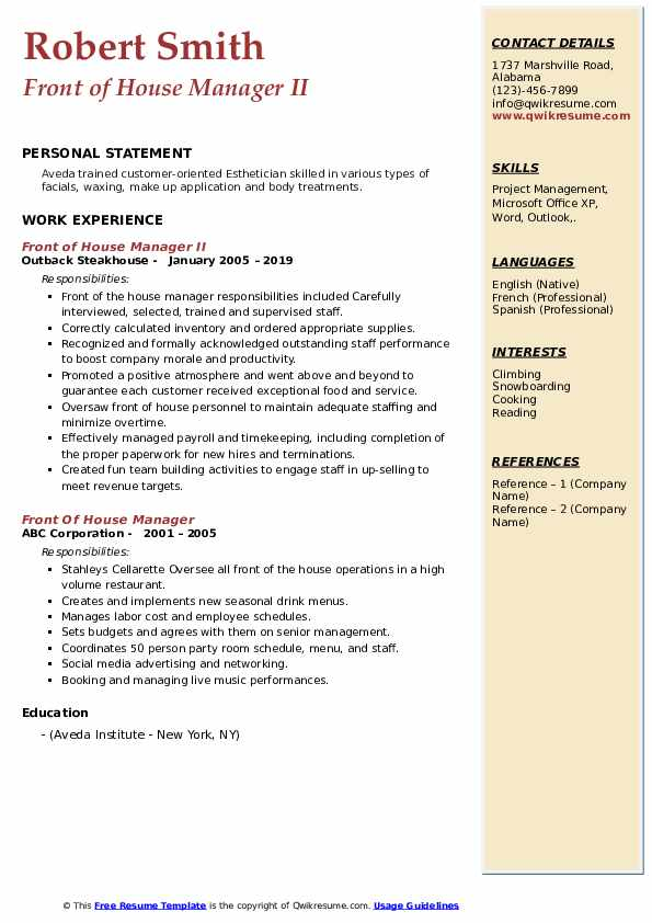 Front of House Manager II Resume Example