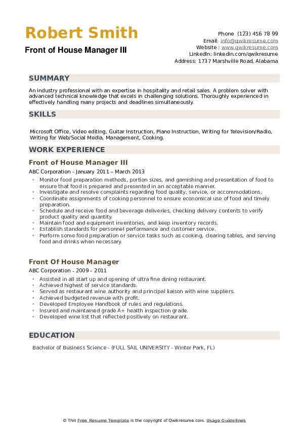 Front of House Manager III Resume Format