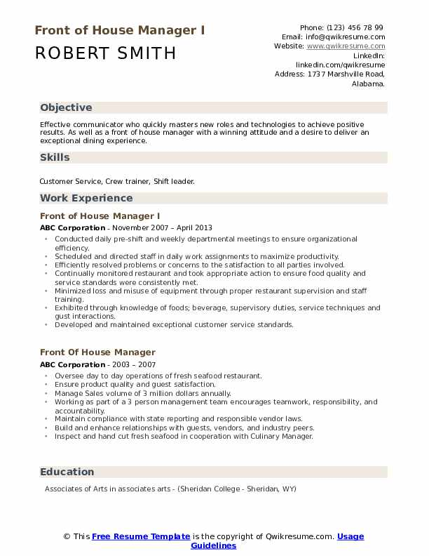 Front of House Manager I Resume Example