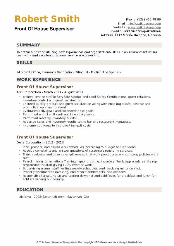 Front Of House Supervisor Resume example