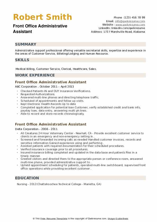 Front Office Administrative Assistant Resume example