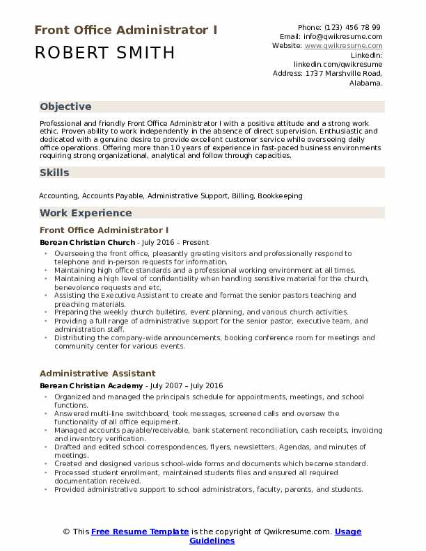 Front Office Administrator I Resume Format