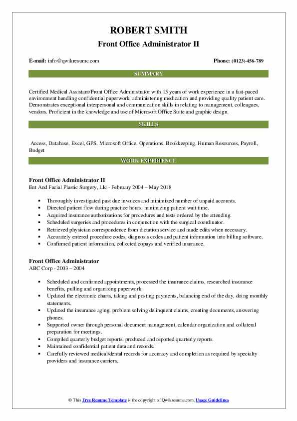 Front Office Administrator II Resume Template