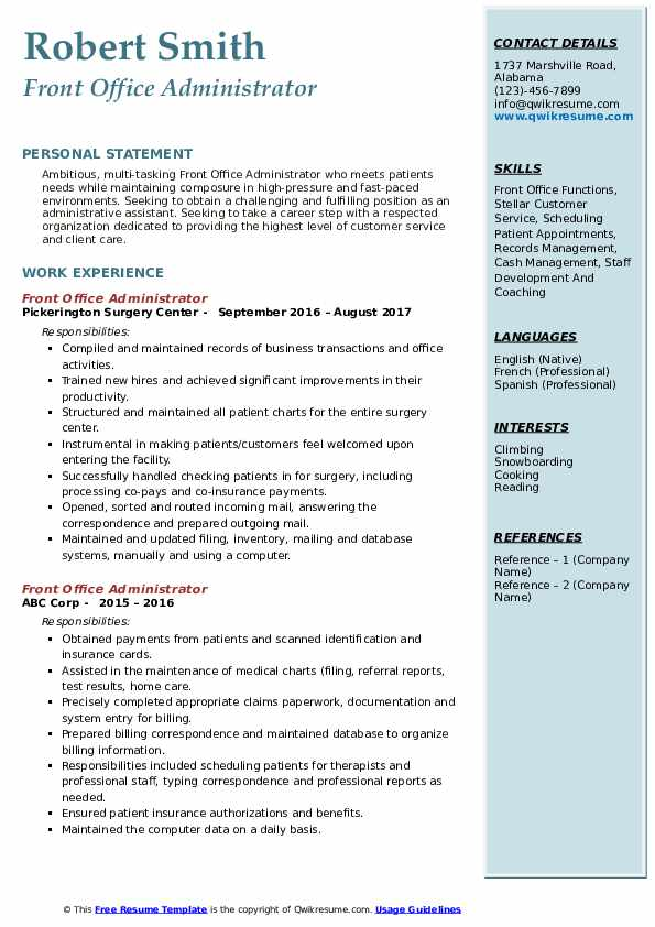 Front Office Administrator  Resume Model