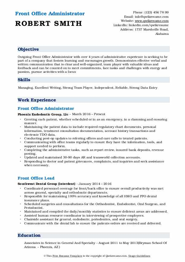 Front Office Administrator Resume Format