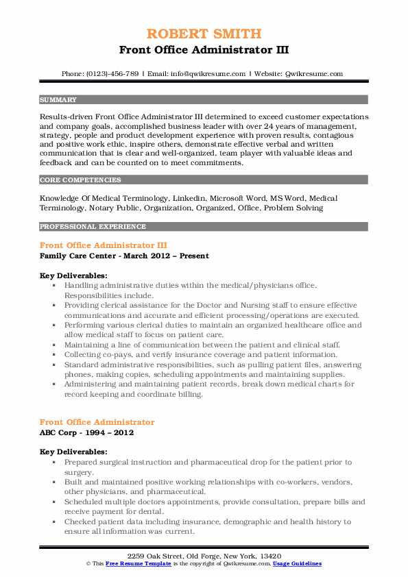 Front Office Administrator III Resume Template