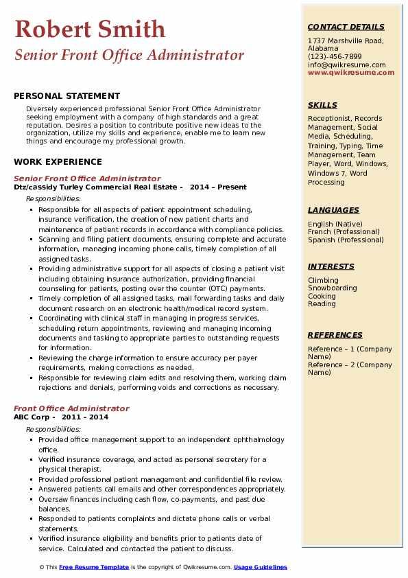 Senior Front Office Administrator Resume Template