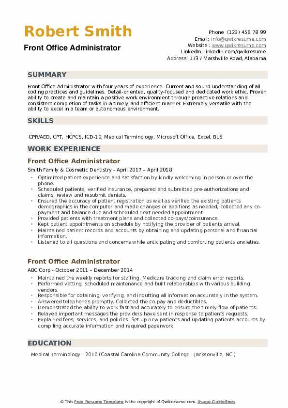 Front Office Administrator Resume example