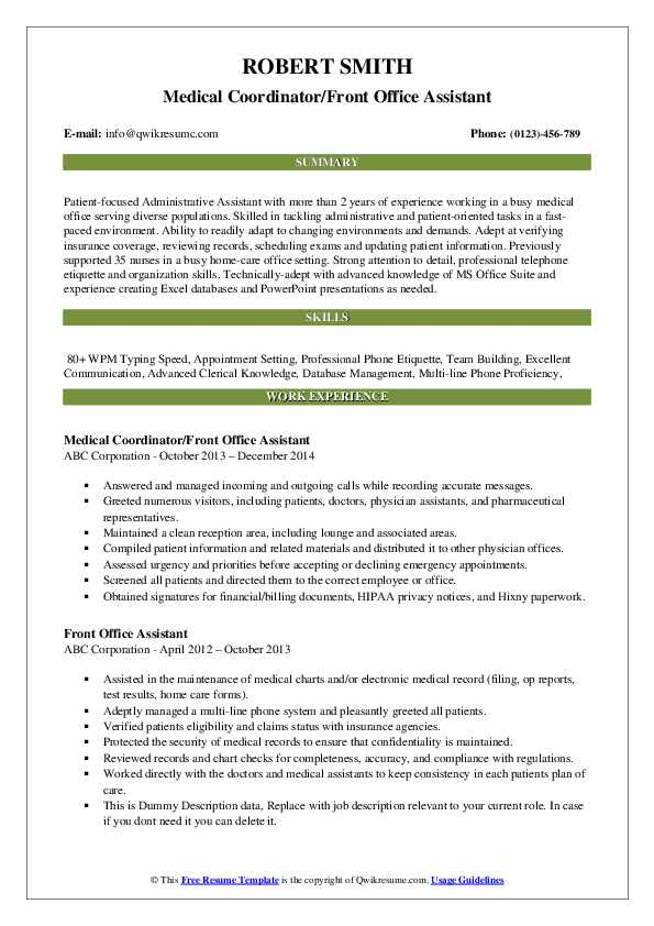 Medical Coordinator/Front Office Assistant Resume Model