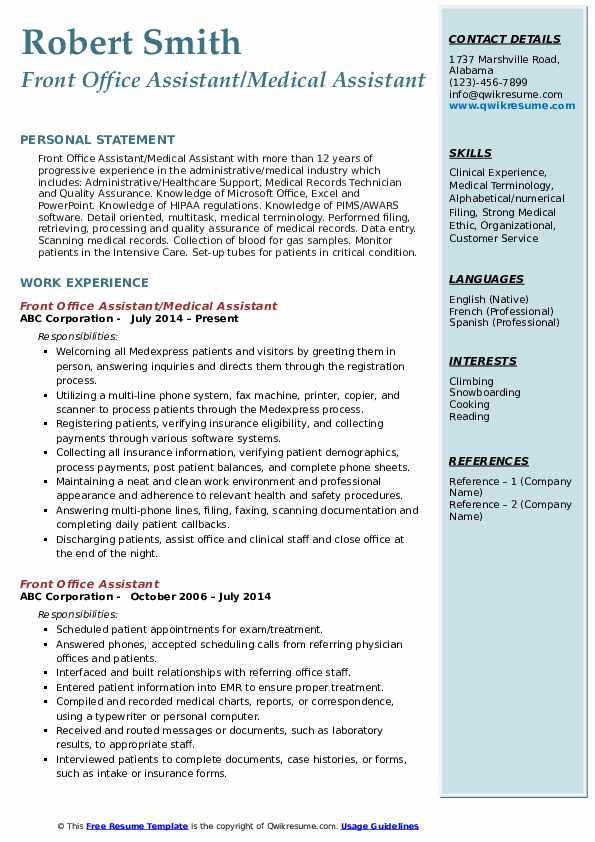 Front Office Assistant/Medical Assistant Resume Model