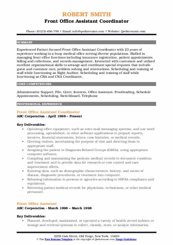 Front Office Assistant Coordinator Resume Example