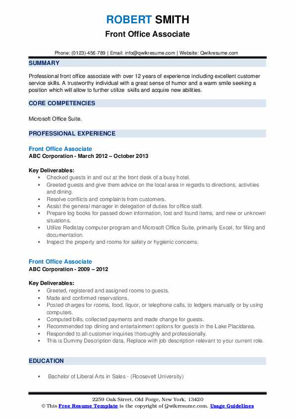 Front Office Associate Resume example