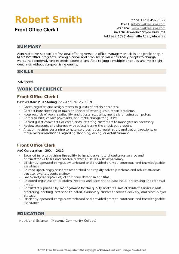 Front Office Clerk I Resume Template