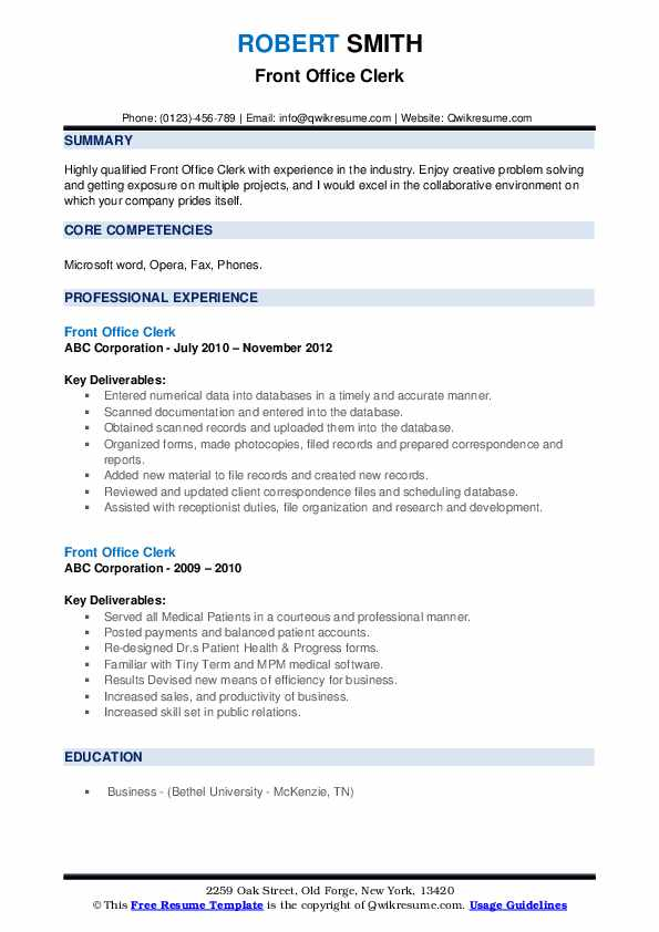 Front Office Clerk Resume example