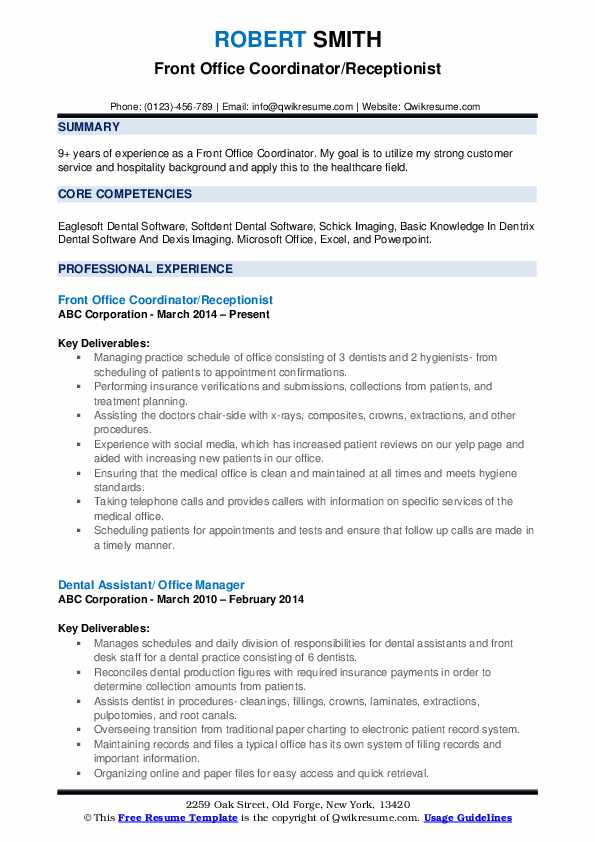 Front Office Coordinator/Receptionist Resume Sample