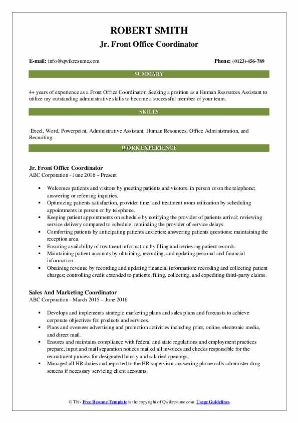 Jr. Front Office Coordinator Resume Template