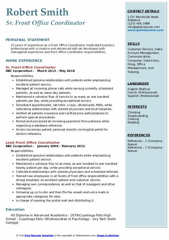Front Office Coordinator Resume Samples Qwikresume