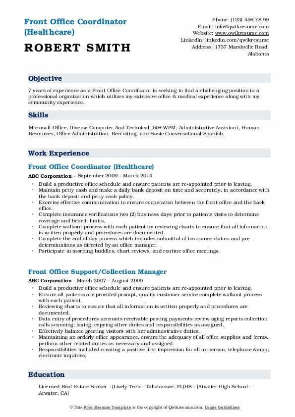 Front Office Coordinator (Healthcare) Resume Template