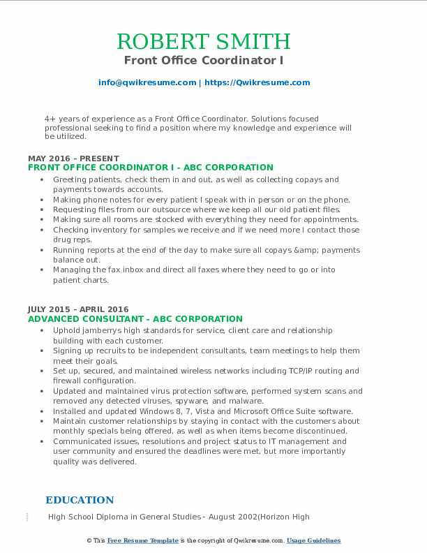 Front Office Coordinator I Resume Example