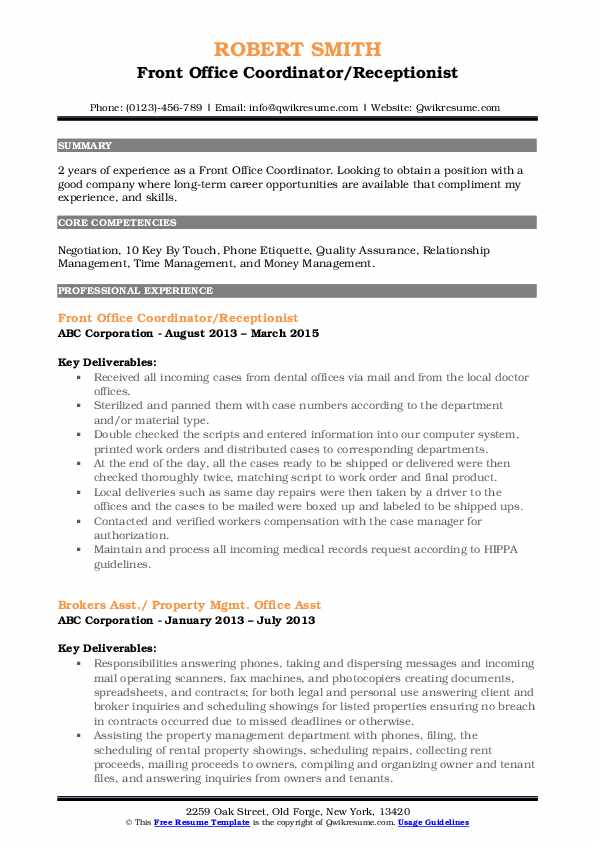 Front Office Coordinator/Receptionist Resume Example