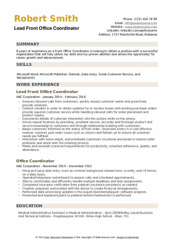Front Office Coordinator Resume example