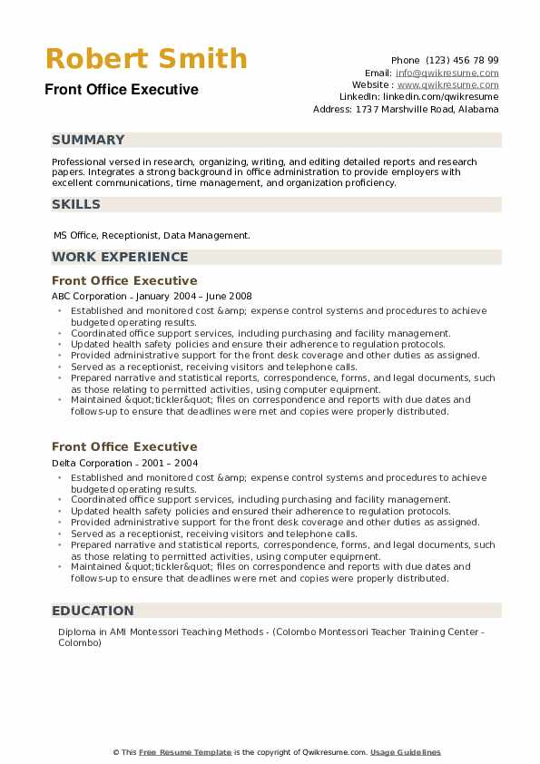 Front Office Executive Resume example