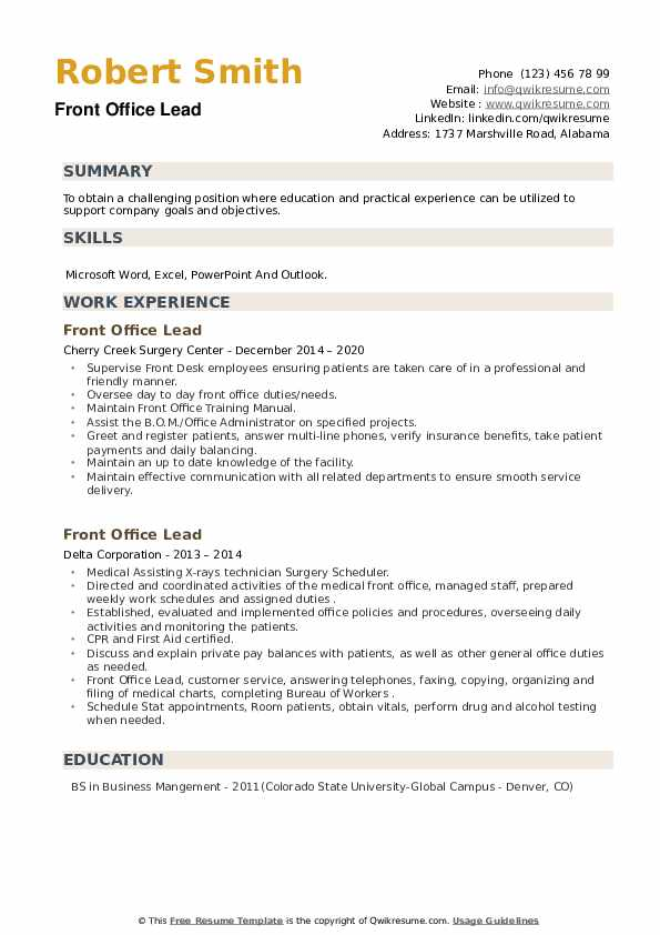 Front Office Lead Resume example