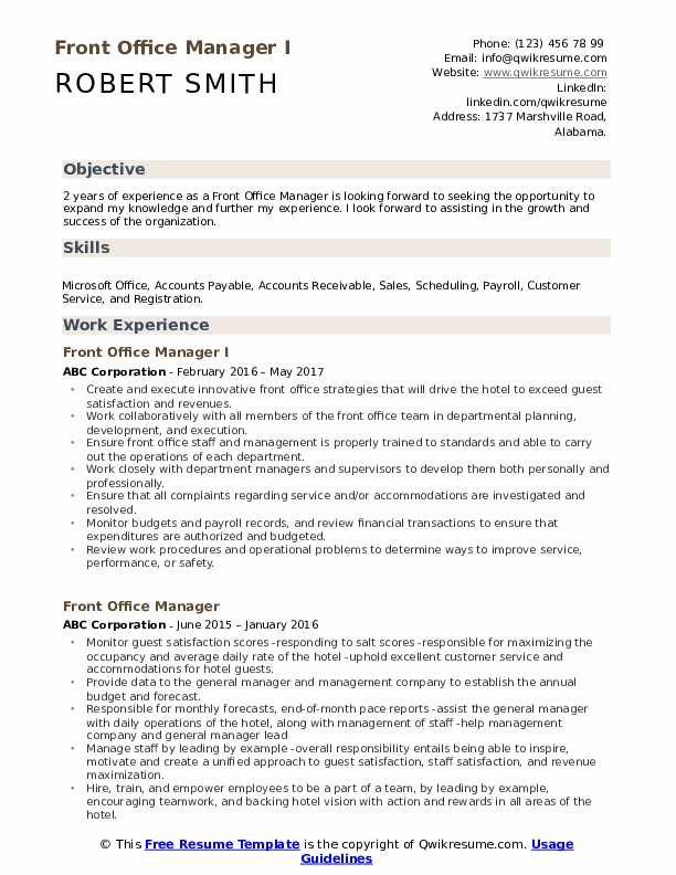 Front Office Manager I Resume Sample