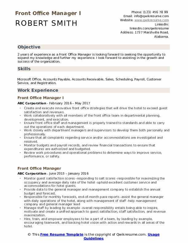 Front Office Manager I Resume Model