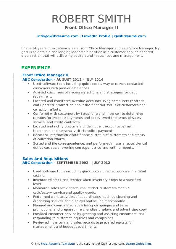 Front Office Manager II Resume Sample