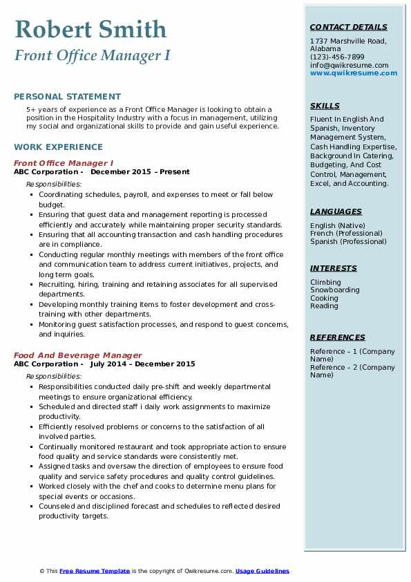 Front Office Manager I Resume Format