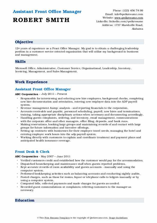 Assistant Front Office Manager Resume Sample