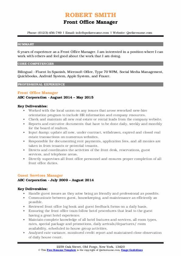 Front Office Manager Resume Sample