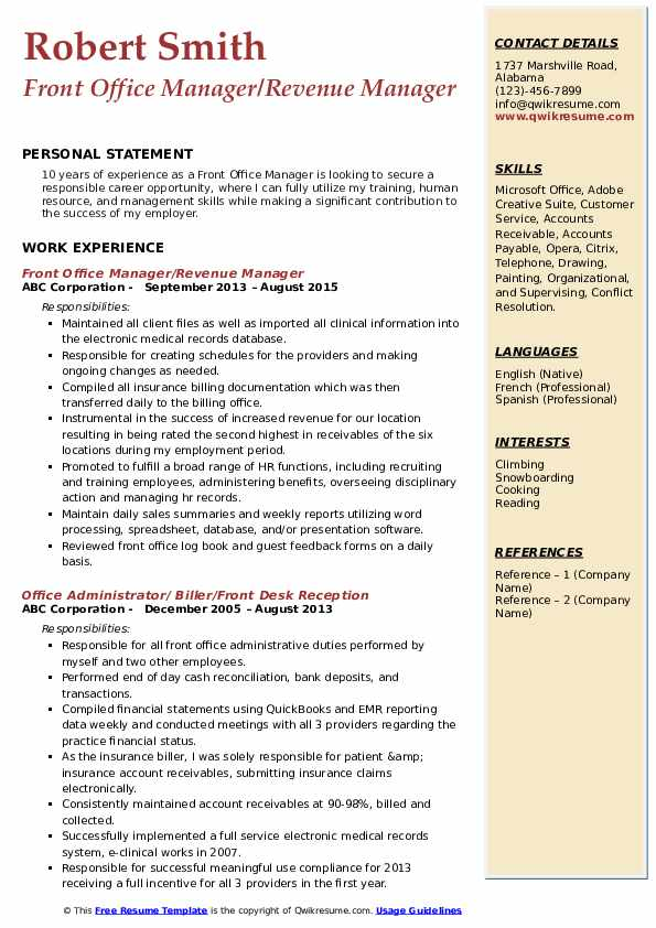 Front Office Manager Resume Samples