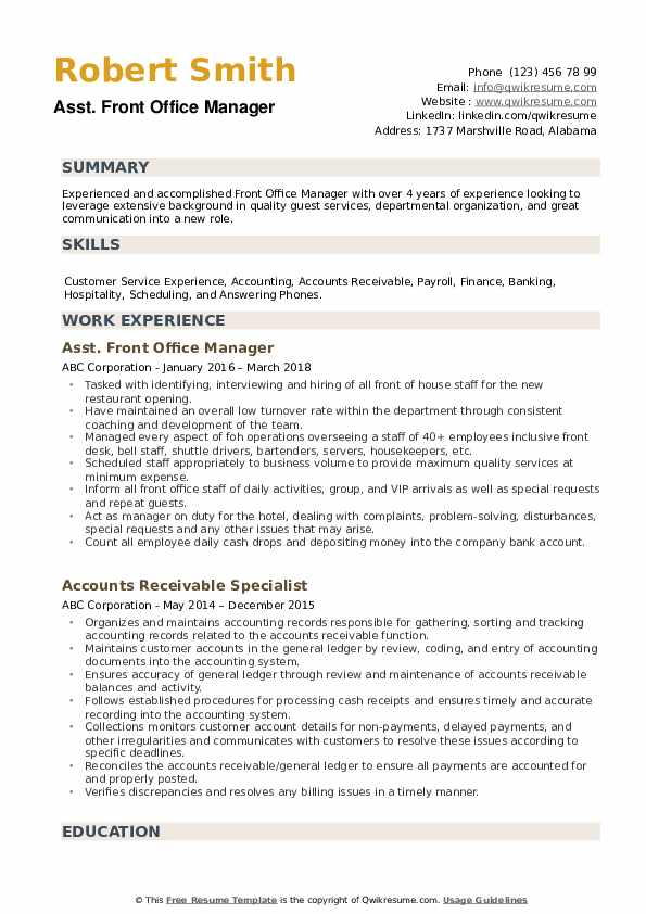 Front Office Manager Resume example