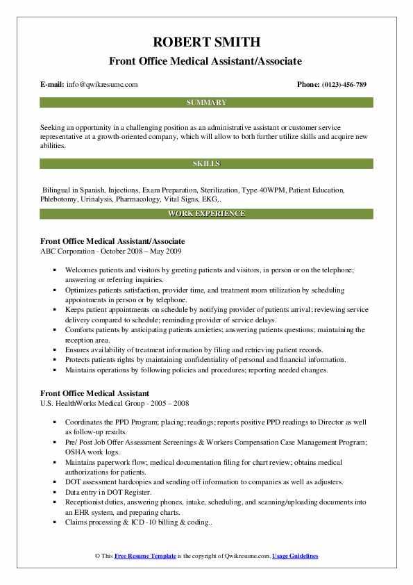 Front Office Medical Assistant/Associate  Resume Format