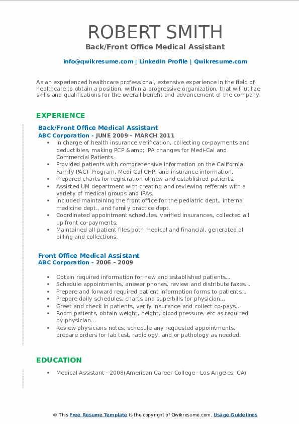 Back/Front Office Medical Assistant Resume Model