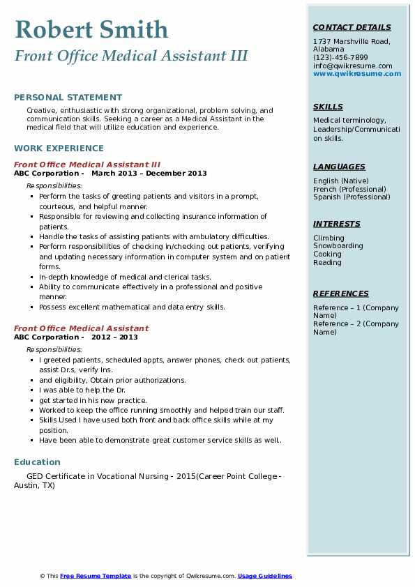 Front Office Medical Assistant III Resume Template