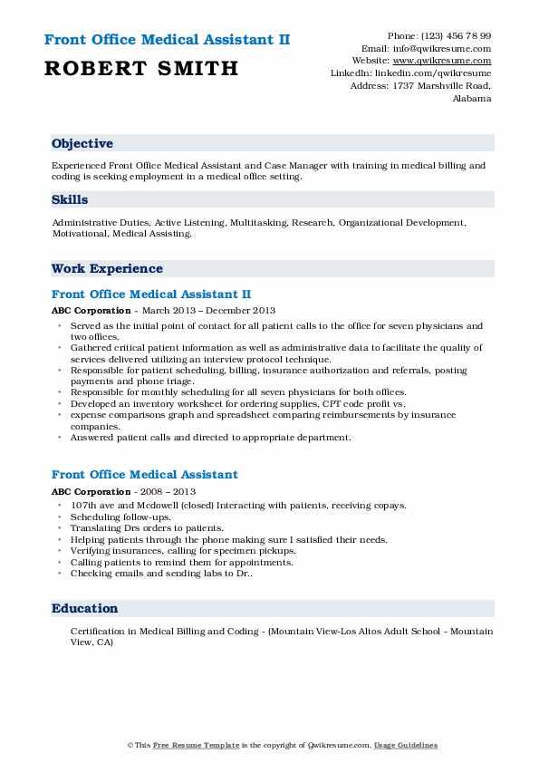 Front Office Medical Assistant II Resume Model