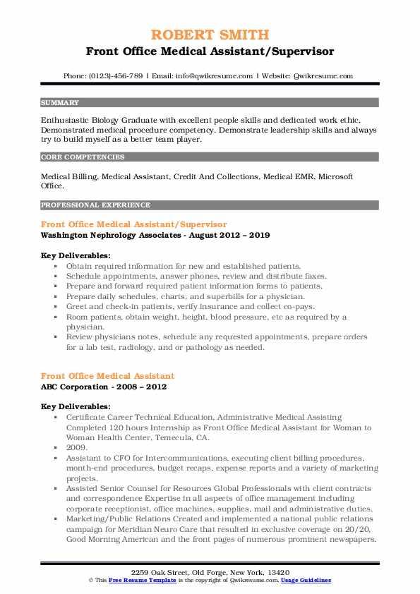 Front Office Medical Assistant/Supervisor Resume Sample