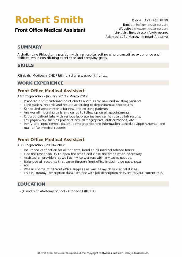 Front Office Medical Assistant Resume Samples Qwikresume