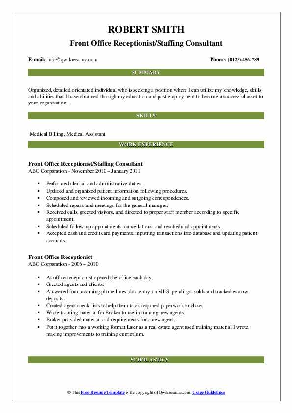 Front Office Receptionist/Staffing Consultant Resume Template