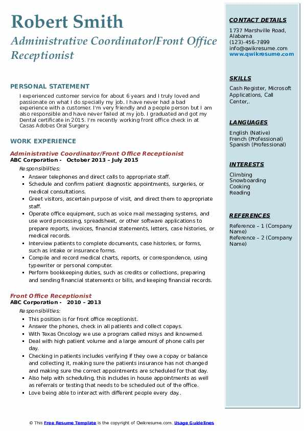 Administrative Coordinator/Front Office Receptionist Resume Template