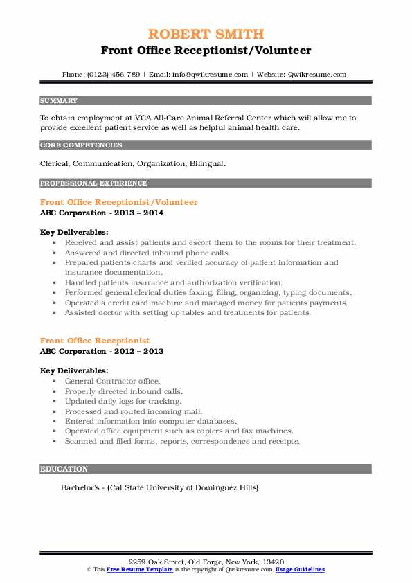 Front Office Receptionist/Volunteer Resume Template