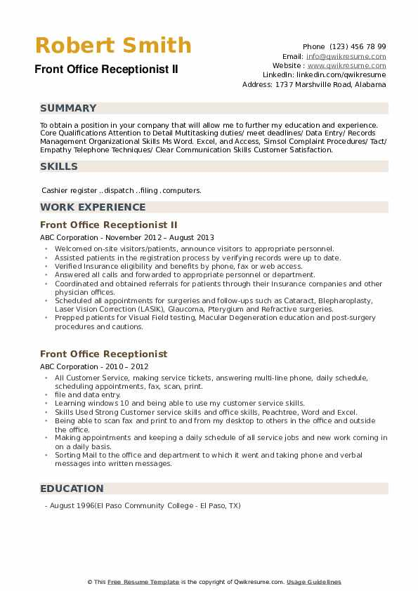 Front Office Receptionist II Resume Example
