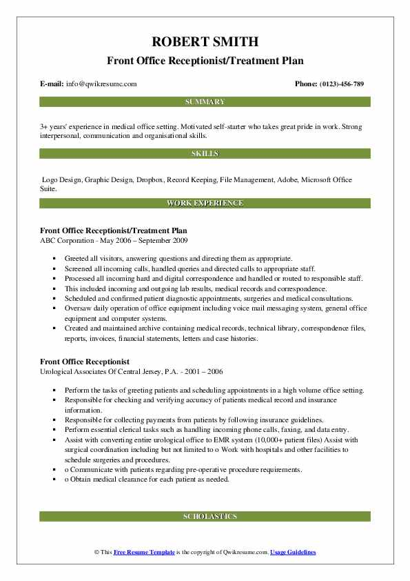 Front Office Receptionist/Treatment Plan Resume Sample