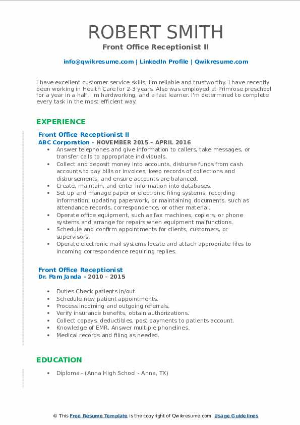 Front Office Receptionist II Resume Model