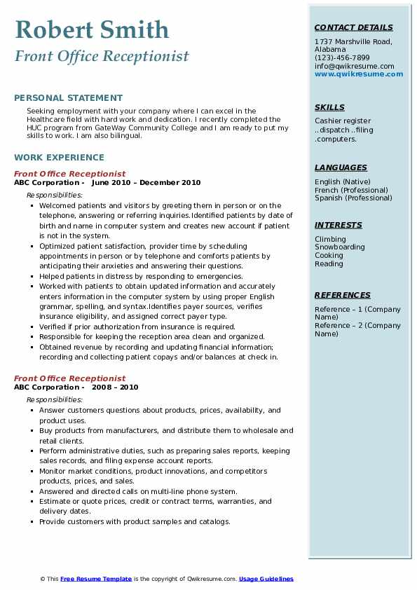 Front Office Receptionist Resume example