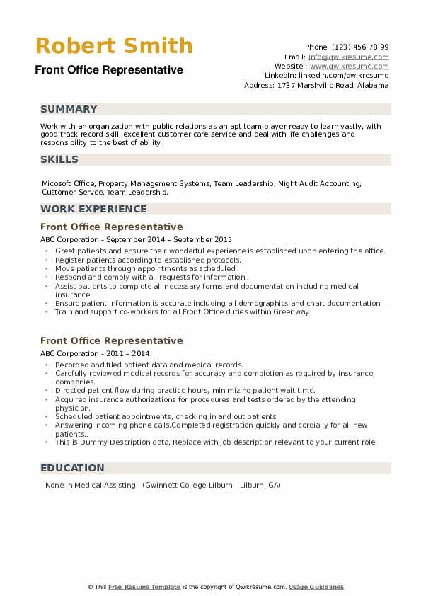 Front Office Representative Resume example